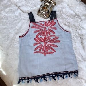 🎄 Embroidered Flower High Neck Tank Size L